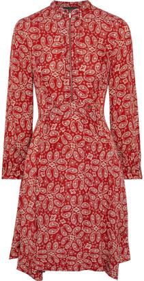 Belstaff Orla Pleated Paisley-print Crepe Dress