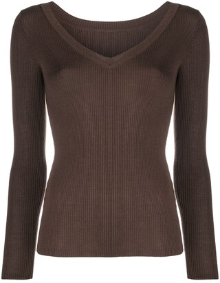 P.A.R.O.S.H. V-neck ribbed knitted top