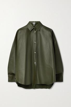 Loewe Oversized Leather Shirt - Dark green