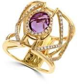Effy Diamond, Amethyst and 14K Yellow Gold Ring, 0.62 TCW