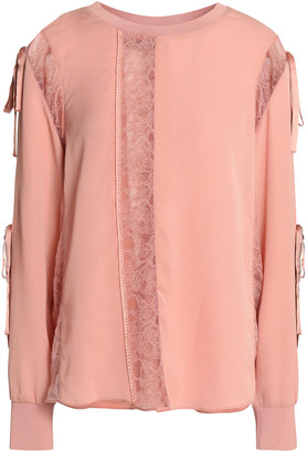 3.1 Phillip Lim Lace-trimmed Silk-crepe Blouse