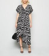 New Look Petite Zebra Print Midi Wrap Dress