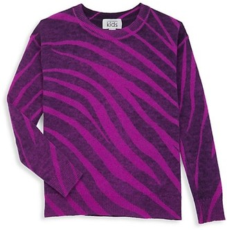 Autumn Cashmere Girl's Inked Zebra Wool Blend Sweater