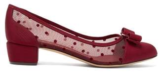 Salvatore Ferragamo Vara Polka-dot Mesh Pumps - Womens - Red