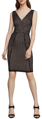 BCBGMAXAZRIA Striped Lace Sheath Dress
