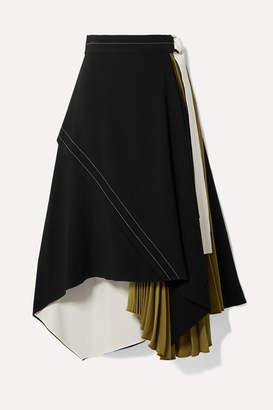 Proenza Schouler Draped Pleated Wrap-effect Crepe Midi Skirt - Black