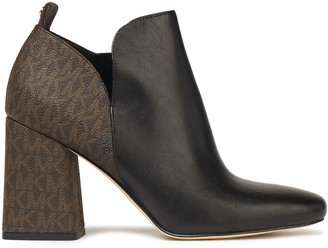 MICHAEL Michael Kors Smooth And Logo-print Textured-leather Ankle Boots