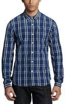 Scotch & Soda Men's Denim Checks Regular Fit Classic Long Sleeve Casual Shirt