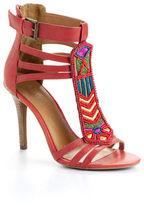 Nine West Shylah Leather Beaded Sandal Heels