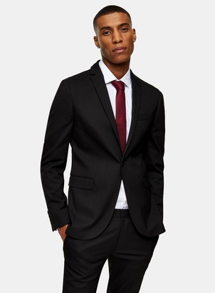 Topman Black Single Breasted Super Skinny Fit Suit Blazer With Notch Lapels