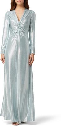 Tahari Long Sleeve Twist Metallic Gown