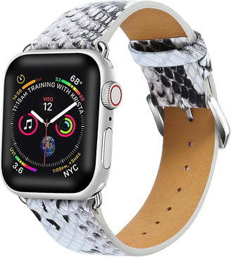Posh Tech White/Grey Snakeskin Embossed Leather 38mm Apple Watch 1/2/3/4 Band