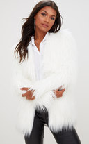 PrettyLittleThing Cream Shaggy Faux Fur Jacket