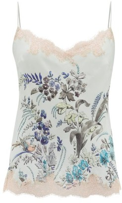 Carine Gilson Lace-trimmed Floral-print Silk Camisole - Green Multi