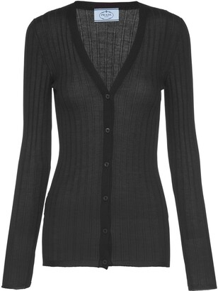Prada V-neck ribbed-knit cardigan