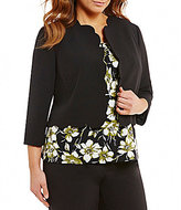 Kasper Plus Open Front Solid Stretch Crepe Scalloped Jacket