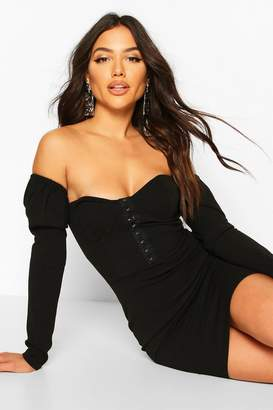 boohoo Cup Front Bardot Dress With Hook And Eye Fasten