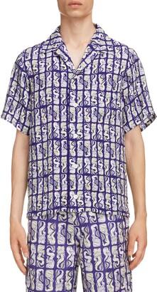 Kenzo Mermaid Short Sleeve Button-Up Camp Shirt