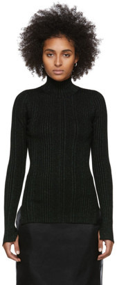 Helmut Lang Black and Green Lurex Rib Turtleneck