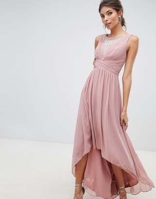 Little Mistress empire detail dipped hem maxi dress with sheer embellished neckline