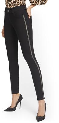 New York & Co. Mya Curvy High-Waisted Sculpting No Gap Super-Skinny Jeans - Rhinestone Stripes