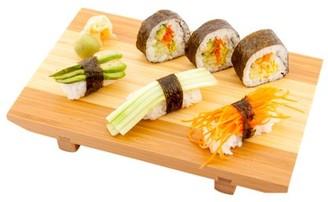 "Restaurantware Japanese Buddha Rectangle Natural Bamboo Sushi Plate - 9 1/2"" x 6"" x 1 1/4"" - 1 count box"