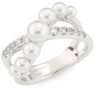 Mikimoto 18K White Gold, Diamond, 5.25MM Round White Akoya Pearl & 3.25MM Round White Akoya Pearl Ring