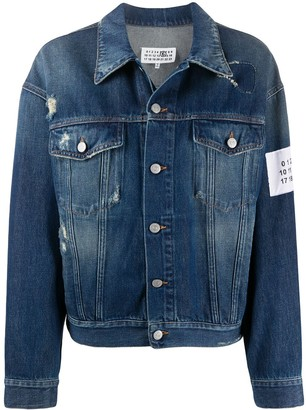 MM6 MAISON MARGIELA Distressed Floral Patch Denim Jacket