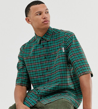 Collusion COLLUSION Tall boxy oversized check shirt with acid wash-Black