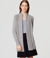 LOFT Mixed Ribbed Open Cardigan