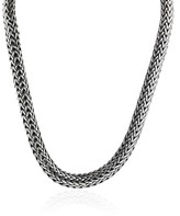 John Hardy 925 Sterling Silver & 18K Yellow Gold Large Woven Chain Necklace