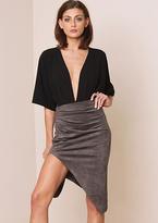 Missy Empire Tiana Charcoal Suede Asymmetric Midi Skirt