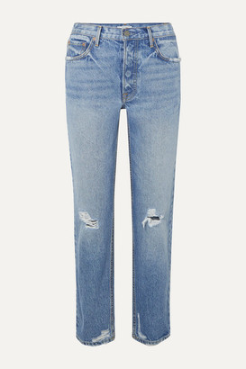 GRLFRND Helena Distressed Mid-rise Straight-leg Jeans - Light denim