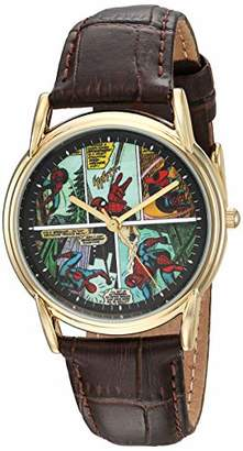 Marvel Men's Spider-Man Analog Quartz Watch with Patent Leather Strap