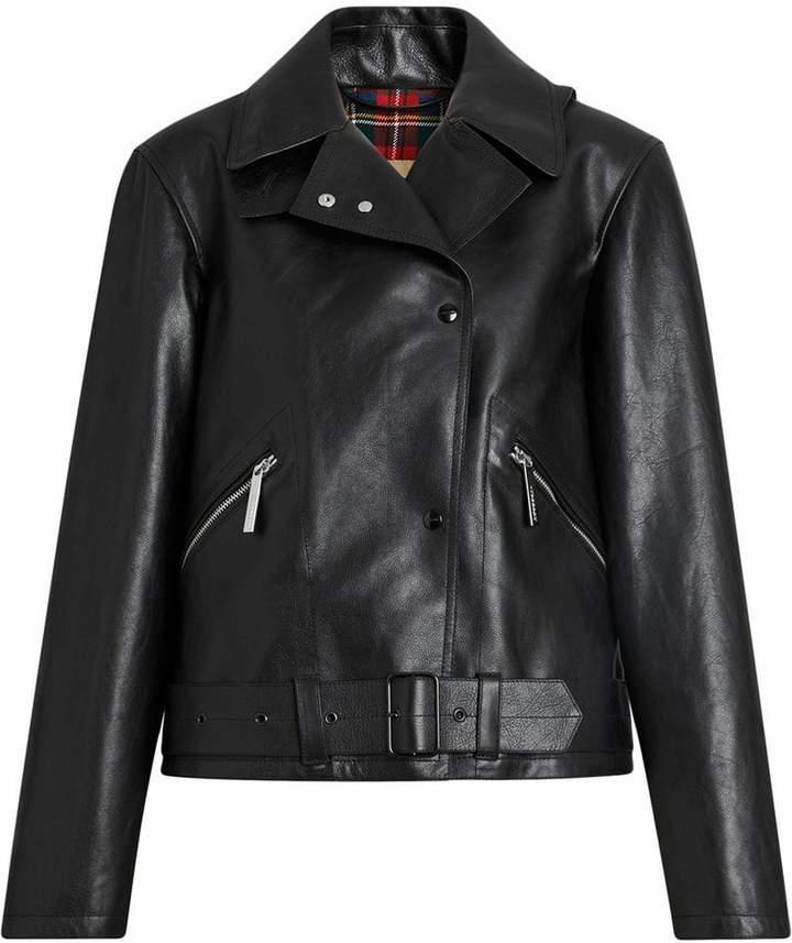 Burberry Tartan-lined Leather Biker Jacket