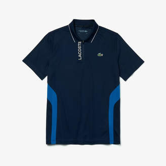 Lacoste Men's SPORT Breathable Knit Zip-Up Golf Polo Shirt