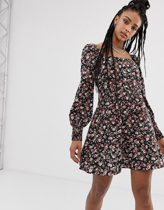 Sacred Hawk square neck boho dress in ditsy floral