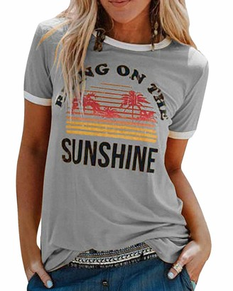 Voqeen Women's Short Sleeve Round Neck Bring On The Sunshine Printed Casual Teens Girls T-Shirt Beach Tee Summer Blouse Tank Tops Grey