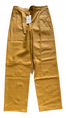 Theory Yellow Leather Trousers