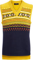 Fair Isle Knit V Neck Sleveless Sweater