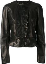 Roberto Cavalli ruffled details jacket - women - Silk/Leather/Polyamide/Viscose - 38