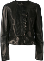 Roberto Cavalli ruffled details jacket - women - Silk/Leather/Polyamide/Viscose - 42
