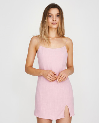 Alice In The Eve Bias Cut Linen Slip Dress Rose