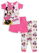 AME Sleepwear Little Girl's Minnie Mouse Tee, Shorts and Pants Pajama Set