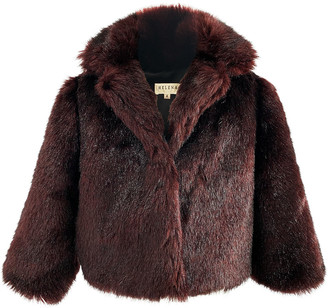 Helena Girl's Notch-Collar Faux-Fur Jacket, Size L-XL