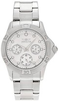 Invicta Women's 21764 Angel Quartz Chronograph Silver and White Dial Link Watch - Silver