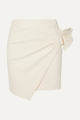 Isabel Marant Lyuba Ruffled Wrap-effect Cotton-blend Mini Skirt - Ecru