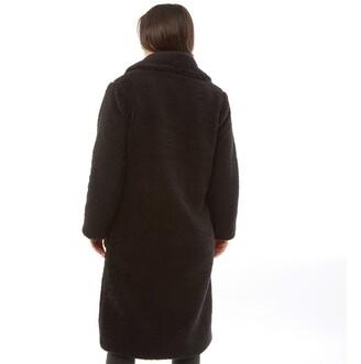 Brave Soul Womens Tasmin Maxi Faux Fur Coat Black