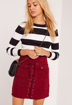 Missguided Peached Lace Up Eyelet Pocket Skirt Burgundy