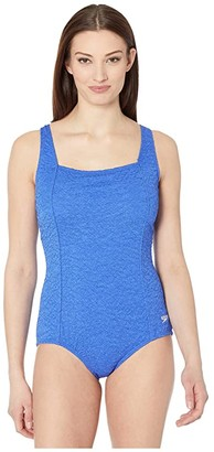 Speedo Pebble Texture Square Neck One-Piece (Hyper Blue) Women's Swimsuits One Piece